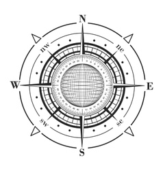Radar compass rose with globe vector