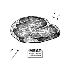 Raw beef steak drawing red meat hand drawn vector
