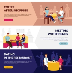 Restaurant Service For Visitors Flat Banners vector image