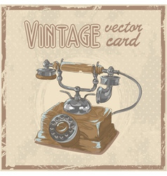 Retro 50s phone stylish vintage postcard vector image