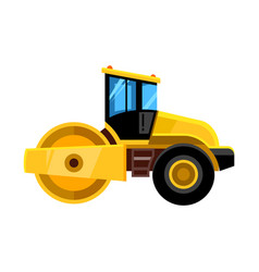 road roller yellow construction asphalt roller vector image