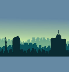 Scenery mexico city skyline silhouettes vector