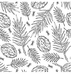 seamless jungle sketch pattern texture vector image