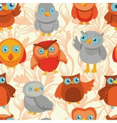 Seamless pattern with cute bright owls vector