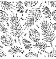 seamless sketch jungle leaves print vector image