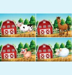 set animal at farm vector image