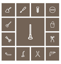 Set of 13 editable tools outline icons includes vector