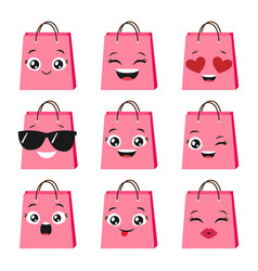 set of cute and happy shopping bags vector image