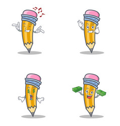 Set of pencil character with singing call me money vector