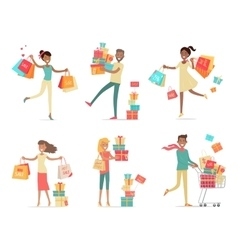 Set of Shopping People Concepts in Flat Design vector image