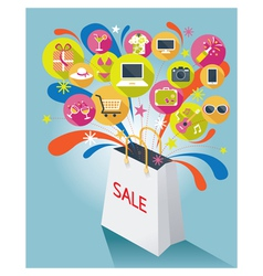 Shopping Bag with Sale Text and Various Icons vector