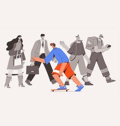 Skateboarder riding against flow crowd vector