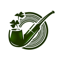 smoking pipe with shamrock logo vector image