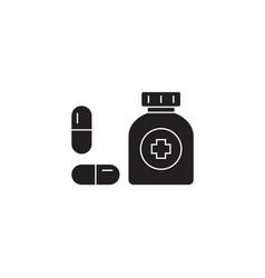 taking medication black concept icon vector image