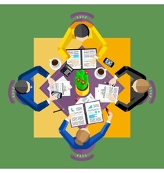 Teamwork concept Top view workspace background vector image