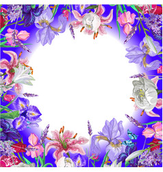Tender round floral empty template with butterfly vector