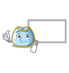 Thumbs up with board character baby bib for vector