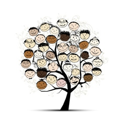 Tree with people faces for your design vector image