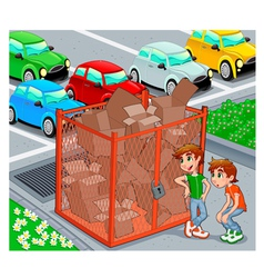 Twins are near a recycling cage vector