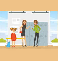 Two women shouting at each other at school hall vector