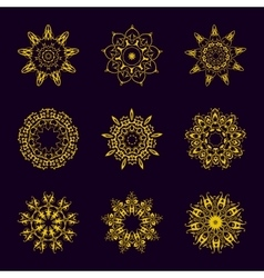 Vintage Golden pattern on dark background vector image