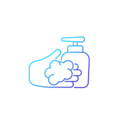 Washing with liquid soap gradient linear icon vector