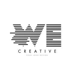 We w e zebra letter logo design with black and vector