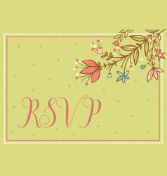 wedding card with flowers and words vector image