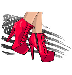 Woman fashion high heel shoes boots in ink vector
