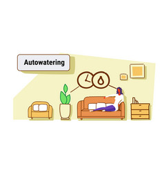 Woman sitting couch using auto watering vector