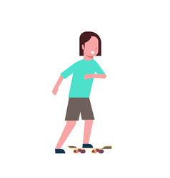 woman skateboarding over white background cartoon vector image