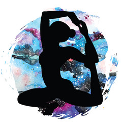 women silhouette mermaid yoga pose eka pada raja vector image