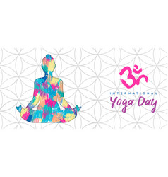 Yoga day banner woman in lotus pose vector