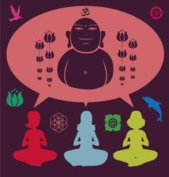Yoga meditation set vector