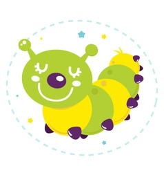 Cute cartoon caterpillar isolated on white vector image vector image