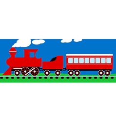 Cute simple red steam train on rail tracks vector image vector image