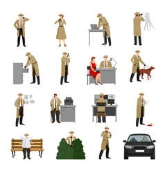 Detective characters collection vector