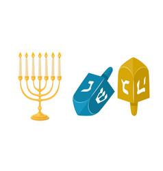 golden jew menorah with candles hebrew religion vector image