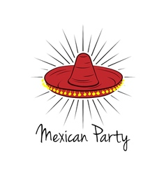 Mexican hat sombrero isolated on white vector