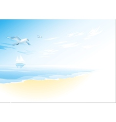 Seascape with sea cloud and flying seagull vector image