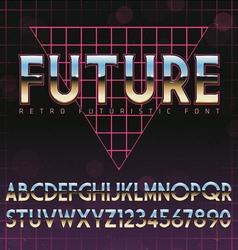 Shiny Chrome Alphabet in 80s Retro Futurism style vector image vector image