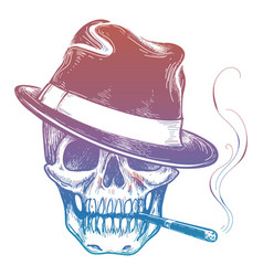 gangster colorful skull with cigarette sketch vector image vector image