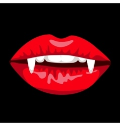 Halloween card with red vampire lips vector image