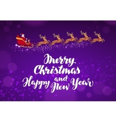Santa Claus rides in sleigh in harness on reindeer vector image vector image