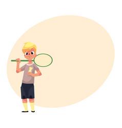teenage caucasian boy halding badminton racket and vector image vector image