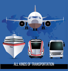 all kinds of travel transport plane bus train vector image