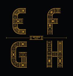 alphabet art deco style in a set efgh vector image