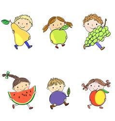 Children and fruits vector