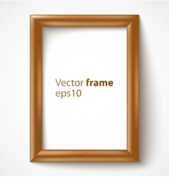 Light wooden rectangular 3d photo frame with vector image