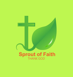 logo cross and sprout vector image